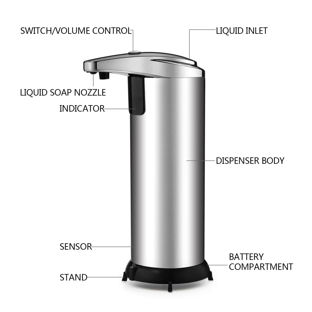 automatic touchless soap dispenser no touch liquid sensor stainless steel dispenser w base 250ml - Touchless Soap Dispenser