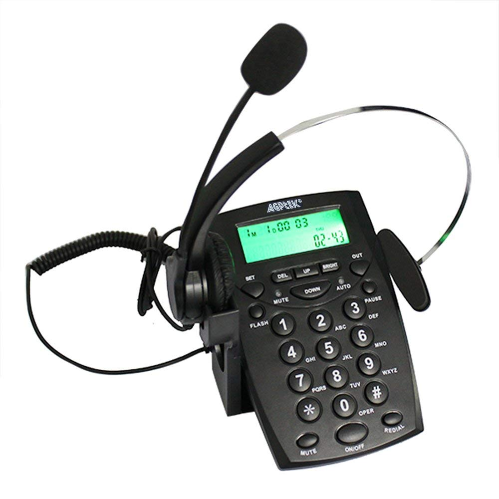 Business/Call center Telephone with Headset (Voice Recorder Port Available & Connect to the PC to Record)