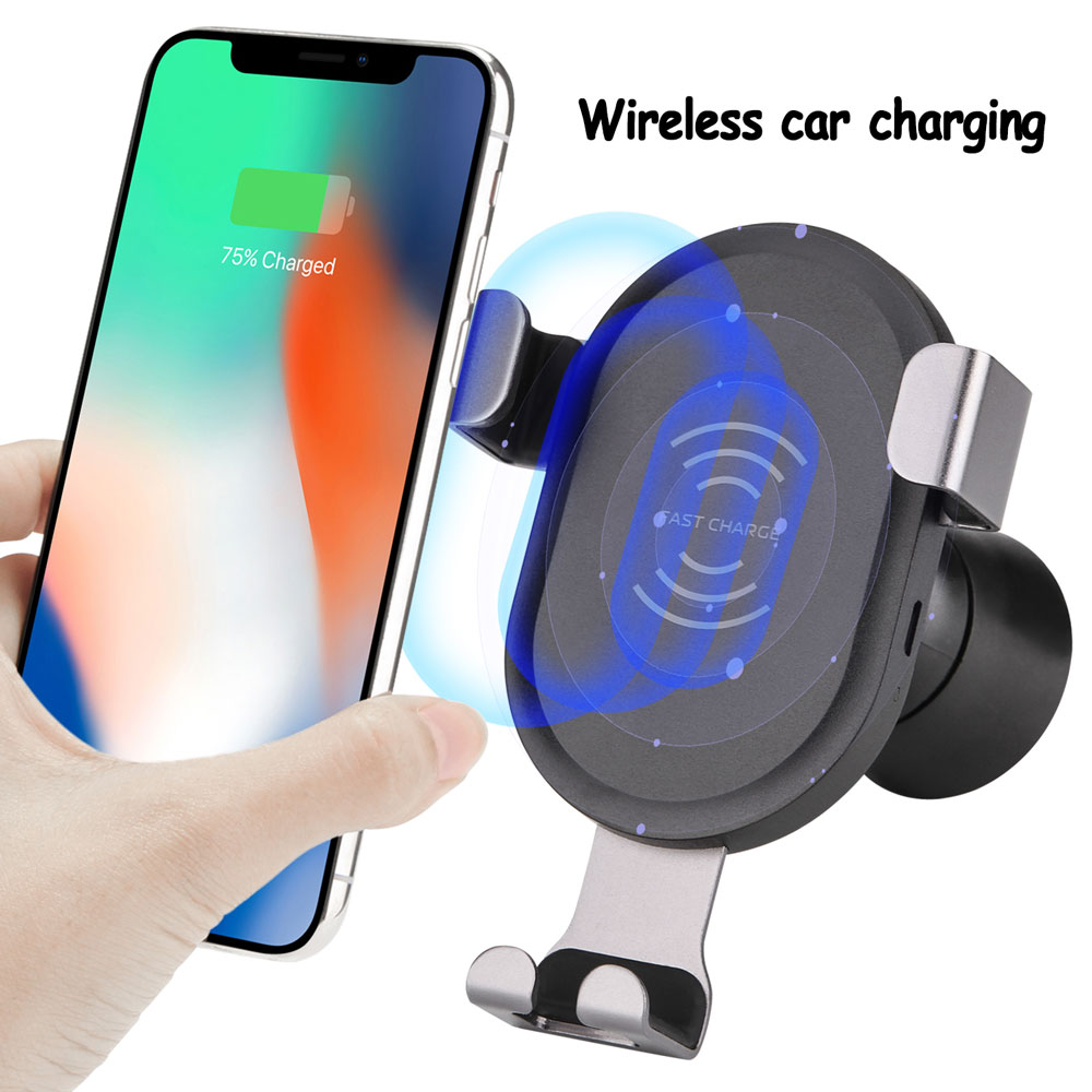 HK Car Mount Qi Wireless Charger Adjustable Gravity Air Vent Phone Holder Stand For iPhone X 8 Plus Samsung S9 S8 S6 Edge Plus Note 5 Note 7 Note 8 Smartphones Black