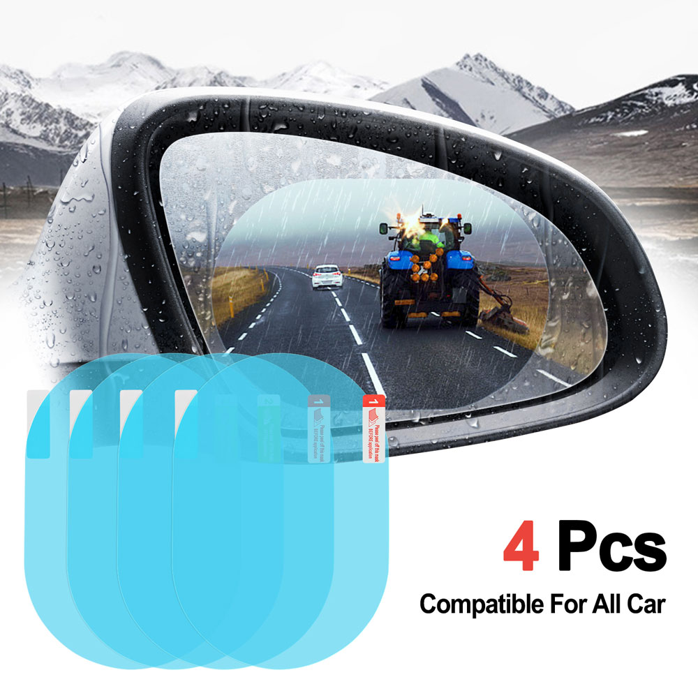 Car Rearview Mirror Film, Car Rearview Mirror Anti-Water Anti-Mist Film Anti-fog Anti-explosion Anti-glare Film, Waterproof Rearview Mirror Window Clear Film for Cars (4PCs)