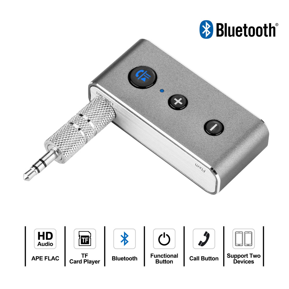 4.2 Portable Wireless Bluetooth Receiver, 3.5mm Stereo Receiver Car Kits, Hands-free Car Audio Adapter for Home /Car Audio Stereo Music System