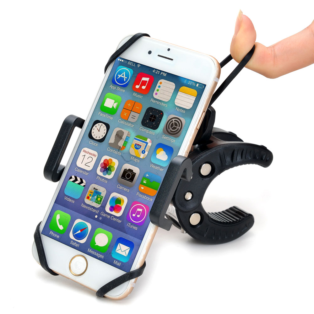 Universal Bike, Motorcycle & baby car Mount Phone Holder, Bicycle Handlebar Cradle with Bonus of Strap & Lanyard, Super-Secure & 360 Degree Rotation for Smartphones, Black